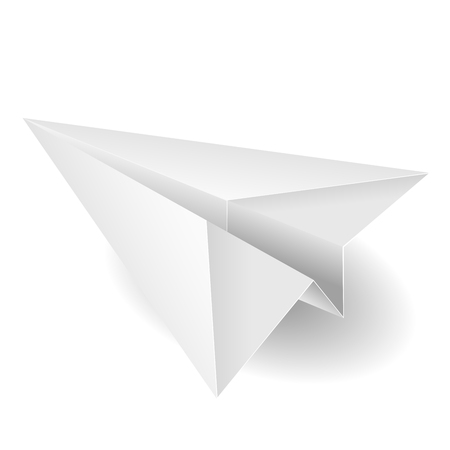 Paper plane on white background