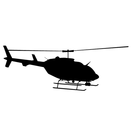 Black silhouette of helicopter on white background