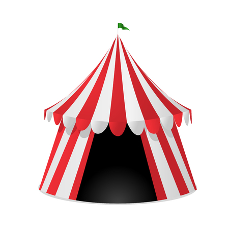 Red striped circus tent isolated on white background Çizim