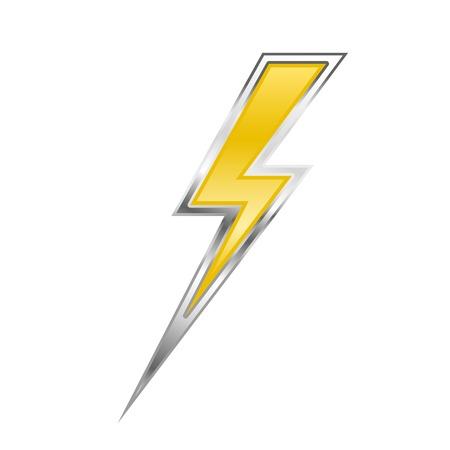 Zigzag lightning bolt - yellow power sign