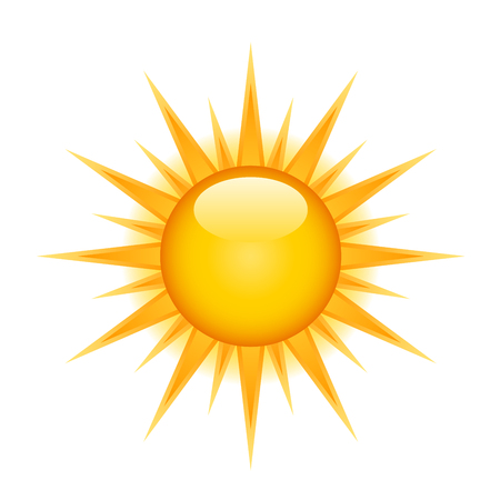 Icon of glossy bright sun on white background Çizim