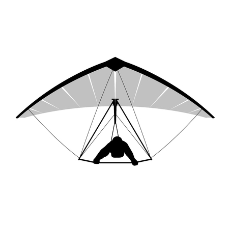 Silhouette of hang glider with sportsman
