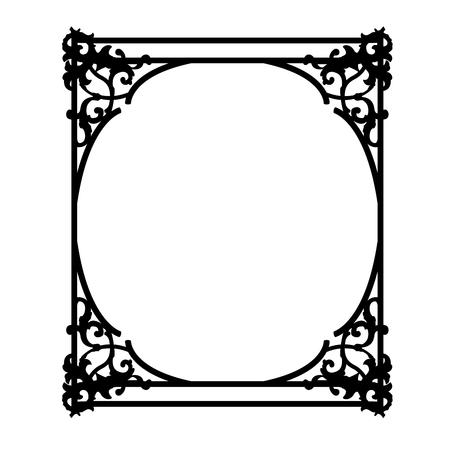 Black square vintage frame with floral curls Çizim