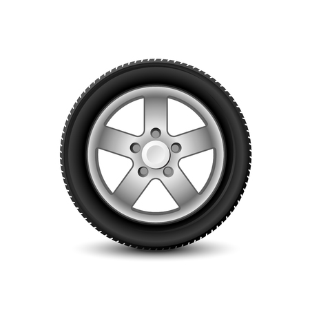 Car wheel with tyre on white background