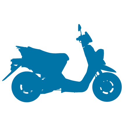 Silhouette of blue motor scooter - moped