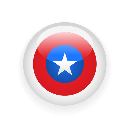 Voting round badge with American flag