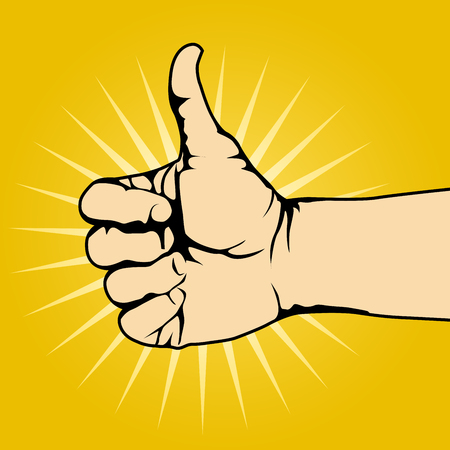 Thumb up hand gesture on yellow background - like gesture Illustration