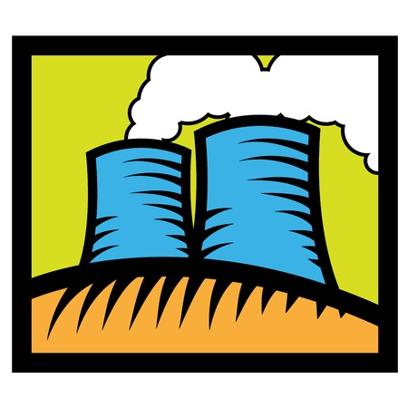 Nuclear reactor - cartoon factory with smoke
