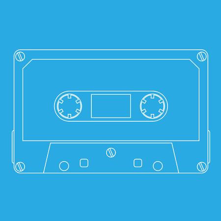 Audio tape cassette on cyan background