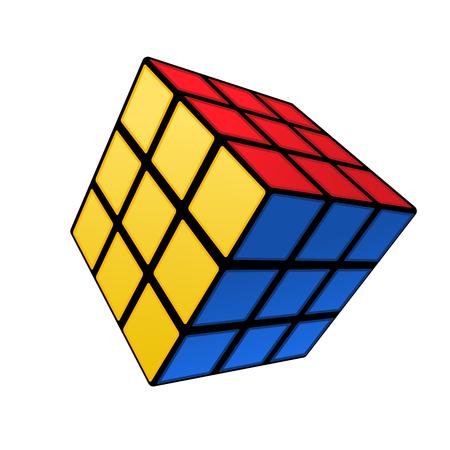 Colourful Rubik cube conundrum on white background