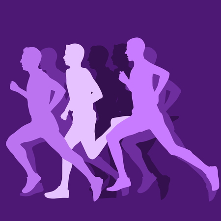 Silhouette of running man - long-distance runner or short-distance runner