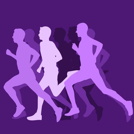 Silhouette of running man - long-distance runner or short-distance runner