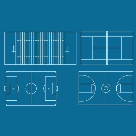 Soccer, basketball, american football and tennis fields set