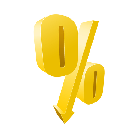 Percentage yellow symbol - 3d discount sign 向量圖像