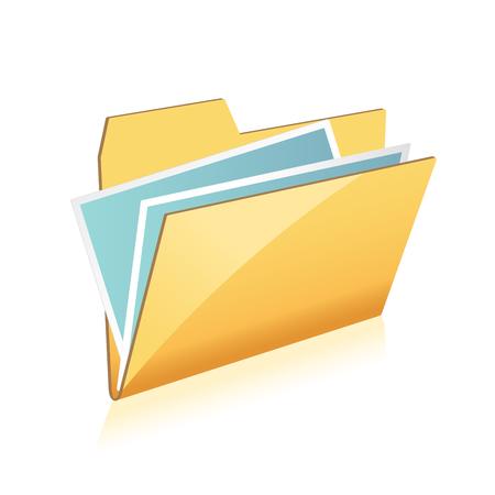 Open folder icon with documents on white background Illustration