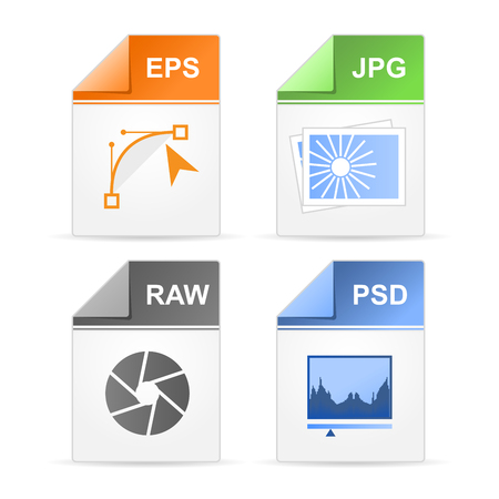 Filetype format icons - psd, raw, jpg, eps