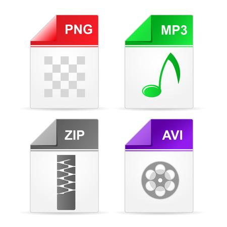 Filetype format icons - zip, png, mp3, avi