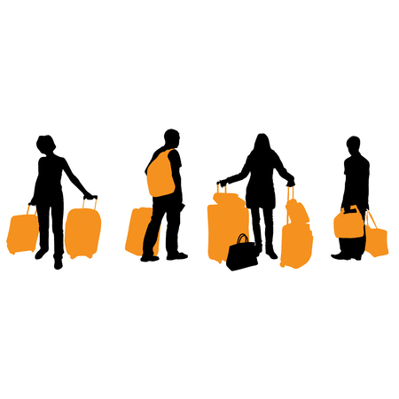 Silhouette of traveling people with suitcases and bags - traveller Illustration