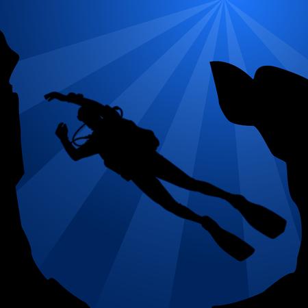 Black silhouette of diver - scuba diving