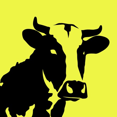 Black cow on yellow background - cattle symbol