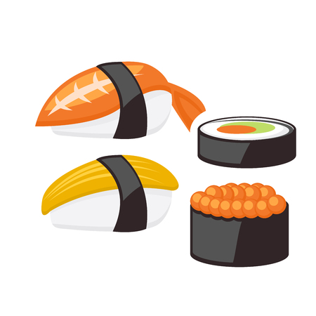 Sushi and rolls - japanese food set icons
