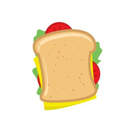 Sandwich with cheese and tomatoes on white background