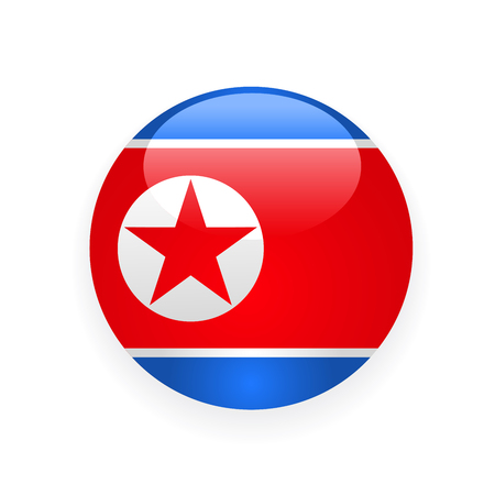 Icon of North Korea flag round button
