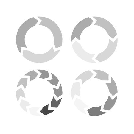 Grey arrows in a circle flow - set of arrow loaders