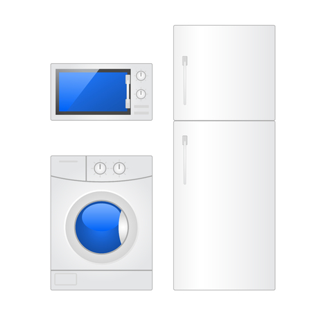 Home appliances - microwave, laundry washer and fridge