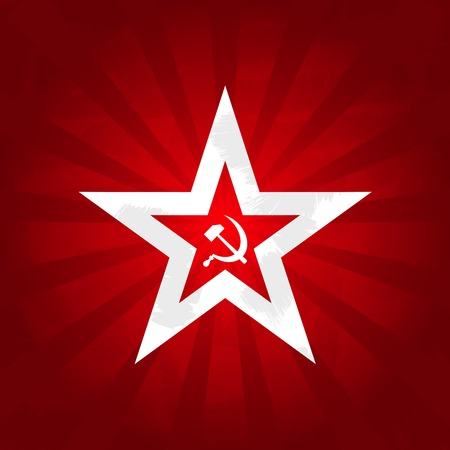 Communism symbols - red star with sickle and hammer