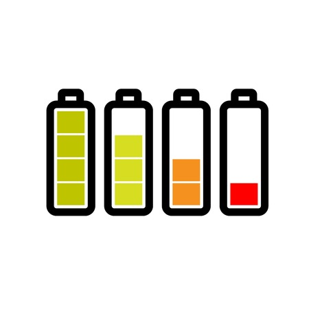 Level of the battery charge on white background