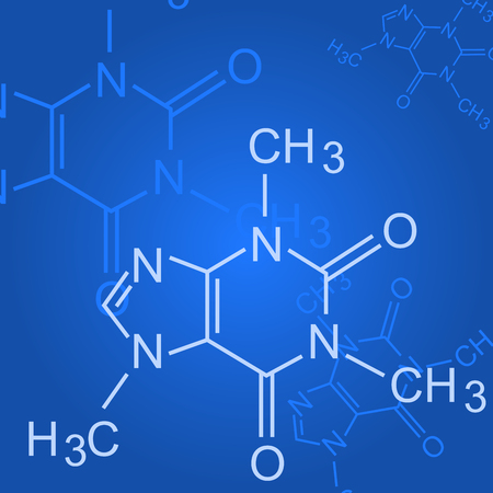 Chemical formula on blue background - formula of organic chemistry