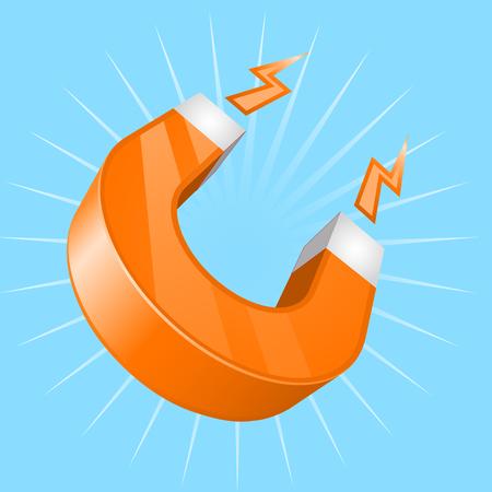 U-shaped magnet on cyan background Illustration