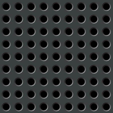 Perforated black metal background with round holes Illustration