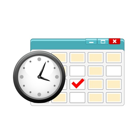 Icon of personal organizer with clock and calendar 일러스트