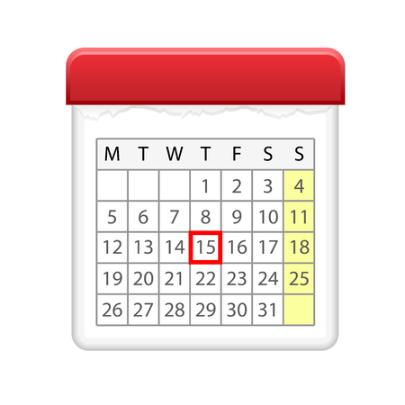 Calendar icon with red marked day