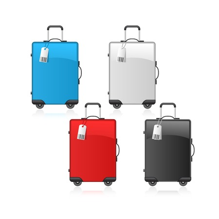Travel wheeled suitcases in black, red, blue and white colors