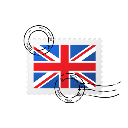 Postmark with Great Britain flag and postage stamp