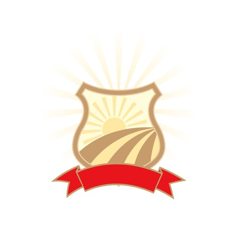 Agriculture industry emblem - shield with sun and red banner