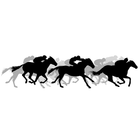 Horse race - silhouette of running horses with jockey Çizim