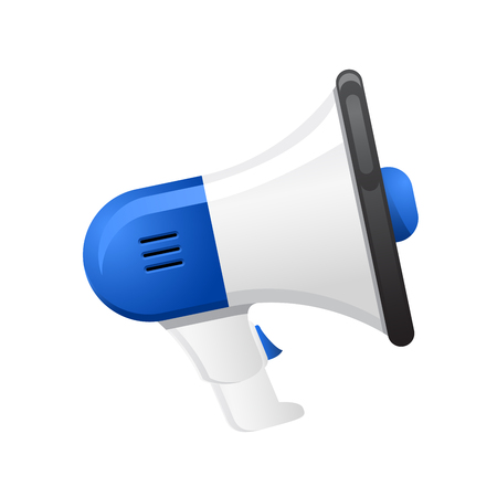 Megaphone - blue loudspeaker on white background
