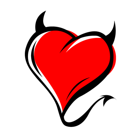 Devil red heart with horns on white background Illustration