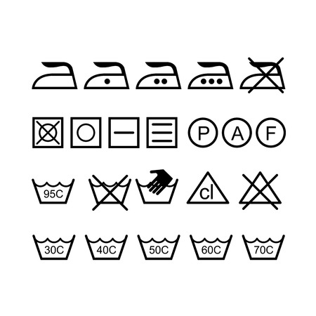 Set of laundry icons - washing symbols Stock Illustratie