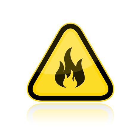 Yellow triangular flammable warning sign Ilustrace