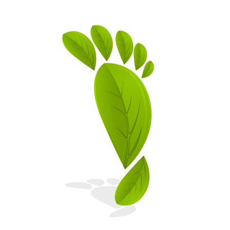 Green footprint made by leaves on white background Çizim