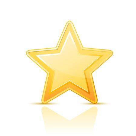 Golden simple star icon on white background Çizim