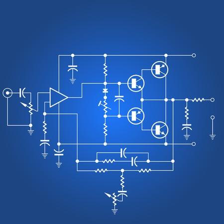 Circuito eléctrico o red eléctrica sobre fondo azul.