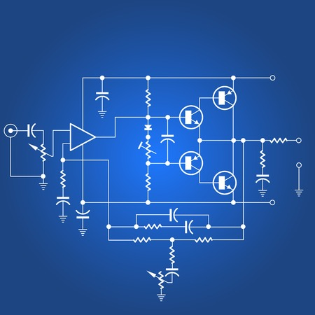 Electric circuit or electrical network on blue background