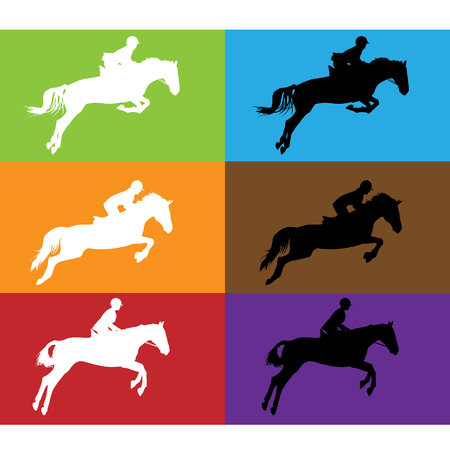 Horse race - silhouette of running horses with jockey  Illusztráció