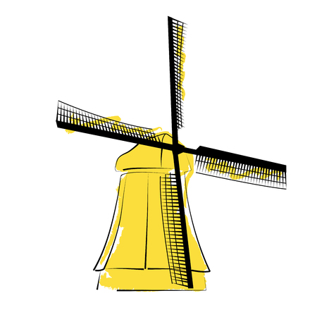 Watercolor yellow windmill on white background